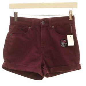 Maroon Stretchy High Waisted Shorts